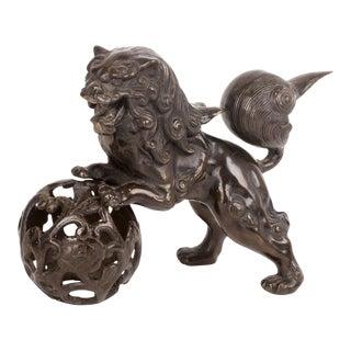 Cast Iron Foo Dog Sculpture For Sale