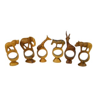 Safari Animal Wood Napkin Rings - Set of 6