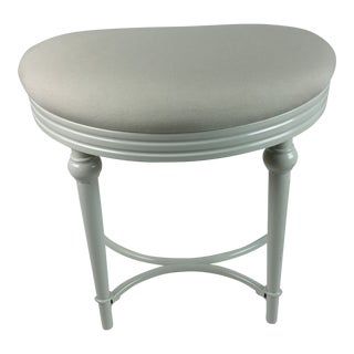 Vintage White Vanity Demi Lune Seat Stool For Sale