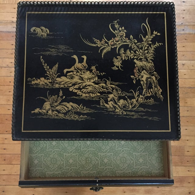 Black Vintage Chinoiserie Side Table - Image 4 of 5