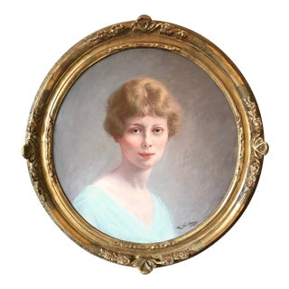 19th Century Antique French Portrait of Young Woman Oil on Canvas Painting For Sale