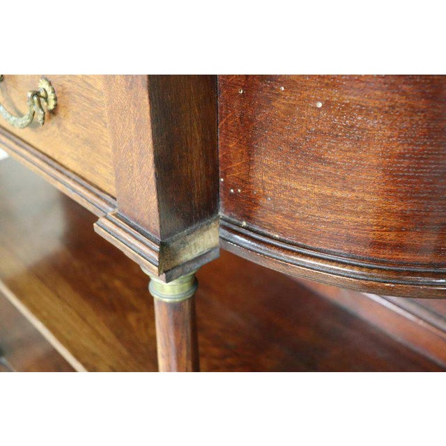 20th Century Italian Empire Style Oak Console Table With Columns and Marble Top For Sale - Image 10 of 12