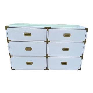Vintage White High Gloss Campaign Dresser For Sale