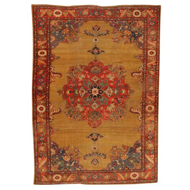 Antique 19th Century Persian Sultanabad Carpet For Sale