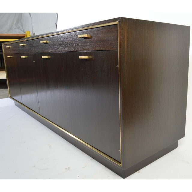 Harvey Probber Harvey Probber Credenza in Dark Mahogany Having Brass Embellishments Throughout For Sale - Image 4 of 8