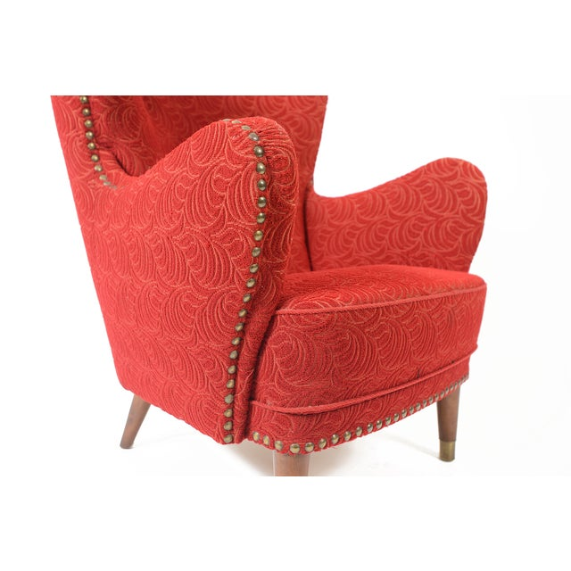 Danish Modern Crimson Frieze Club Chair - Image 7 of 11