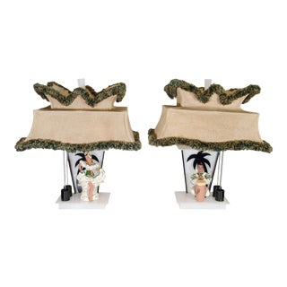 Ceramic Conga Player & Dancer Figure Moss Lamps - A Pair For Sale