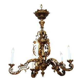 Antique French Late 19th Century Brass and Iron Chandelier For Sale