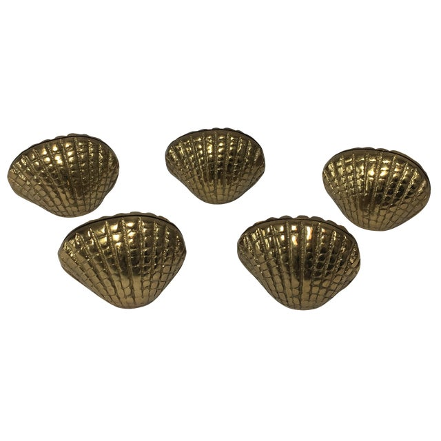 Brass Shell Place Card Holders - Set of 5 For Sale