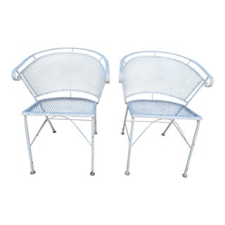 Vintage White Patio Dining Chairs - Set of 2