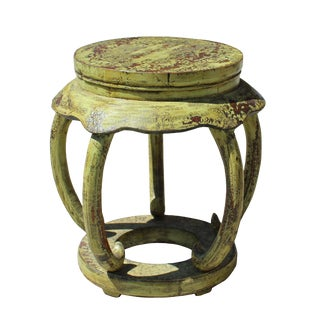 Distressed Yellow Lime Lacquer Curved Legs Wood Stool Table For Sale