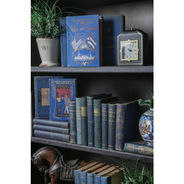 Mid-Century Modern Vintage Blue Decorative Book Wall - Set of 50 For Sale - Image 3 of 4
