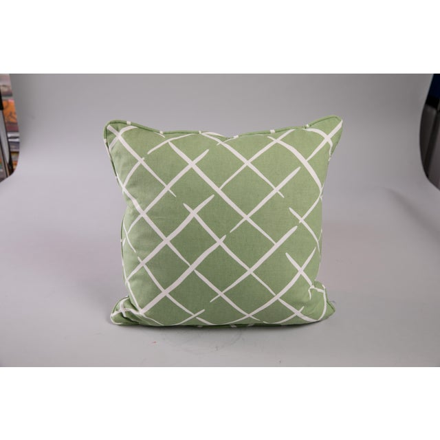 Custom square throw pillow in Madcap Cottage Bermuda Bay fabric (tropical palm leaves) with Madcap Cottage Cove End...