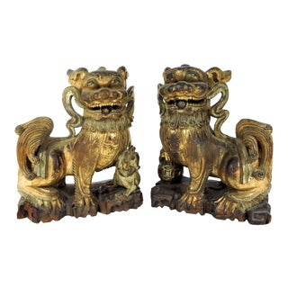 Rare Antique Chinese Carved Gilt Wood Temple Foo Lions Statues - a Pair (Foo/Fu Dogs) For Sale