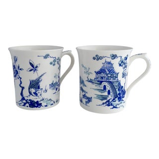 Vintage Queens Kang Hsi Mugs Chinoiserie Porcelain - Set of 2 For Sale