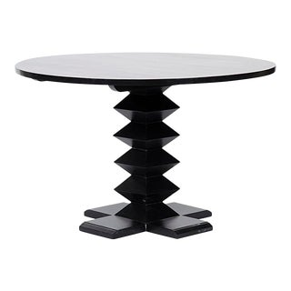 "Zig-Zag Base Dining Table, 48"", Hand Rubbed Black For Sale"