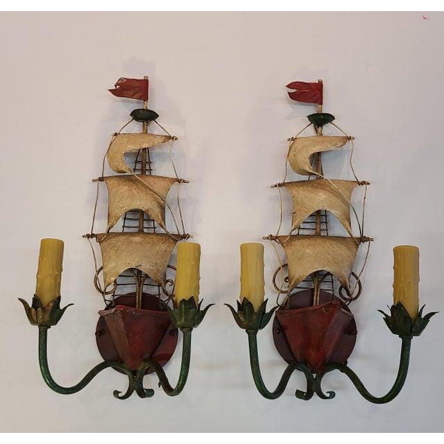 Vintage Italian Tole Ship Sconces by Florentia - a Pair For Sale - Image 11 of 12