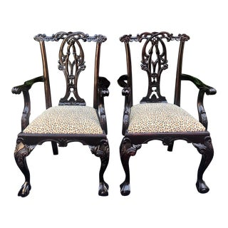 Pair of Thomas Chippendale Style Rosewood Armchairs W Clarence House Cheetah For Sale