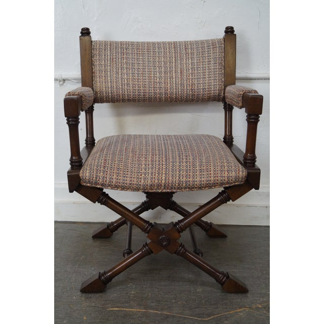 Brown Regency Style Directors' Arm Chairs - Set of 4 For Sale - Image 8 of 10