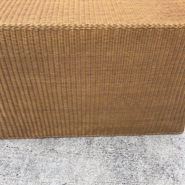 1970s Boho Chic Trompe L'oeil Rattan Skirted Console Ghost Table For Sale In Atlanta - Image 6 of 9