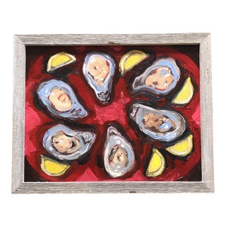 Original Contemporary Modernist Alexandra Brown Oil Painting Oysters With Lemons For Sale