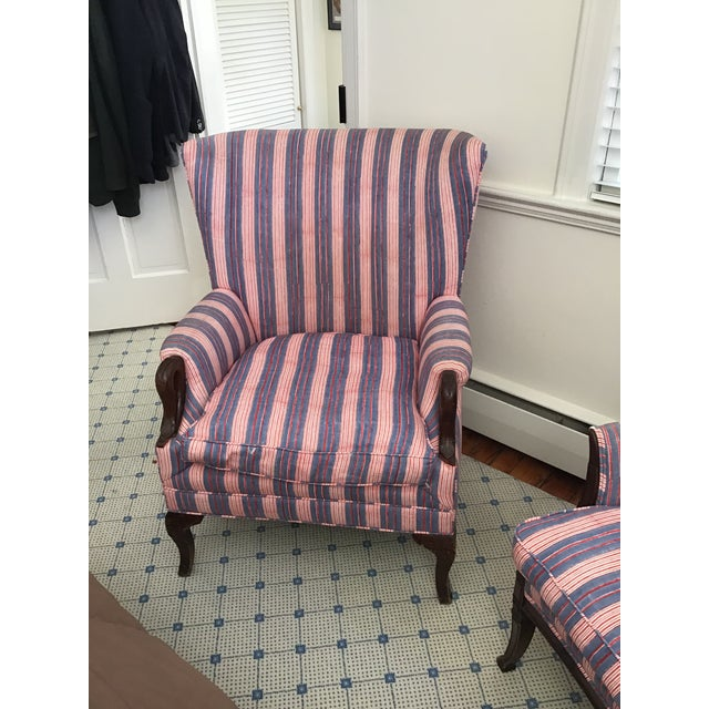 Antique Chairs With John Robshaw Vintage Stripe Cora Fabric - a Pair For Sale - Image 10 of 13