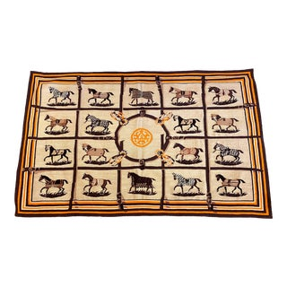 Equestrian Aubusson Area Rug- 3′6″ × 5′6″ For Sale