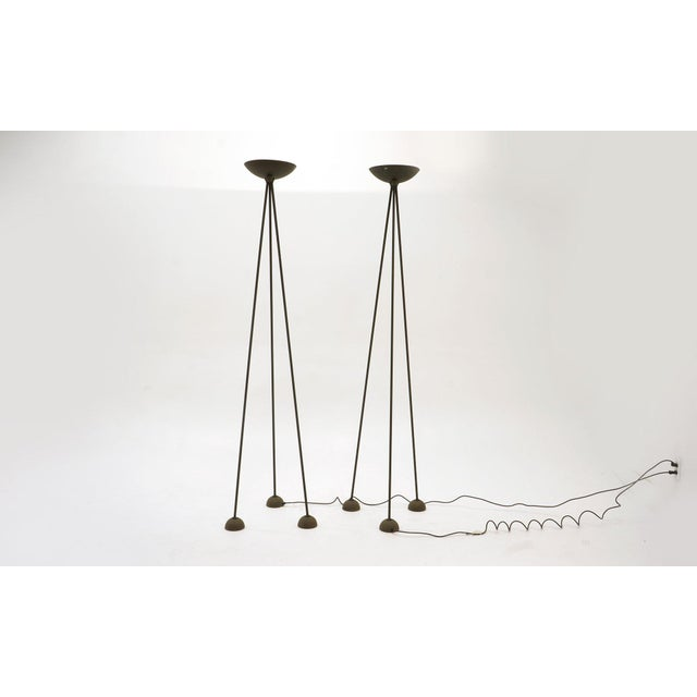 Pair of Floor Lamps by Koch and Lowy, Black Tripod Stands With Halogen Fixtures For Sale In Kansas City - Image 6 of 7