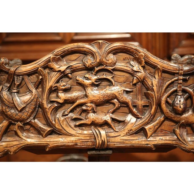 19th Century French Carved Black Forest Jardiniere With Hunting Attributes - Image 4 of 9