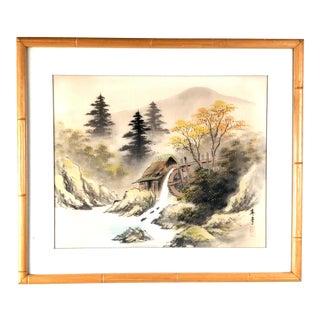 Late 20th Century Japanese Landscape Framed Silk Print For Sale