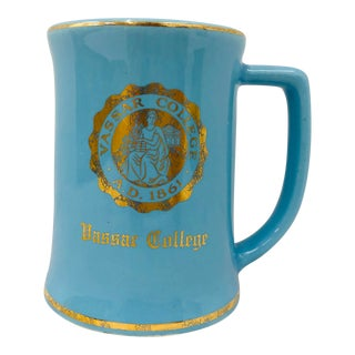 Vintage Blue & Gold Vassar Porcelain Mug For Sale