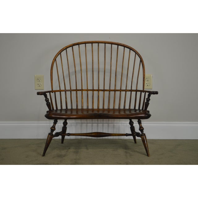 Windsor Style Hand Crafted Miniature Childs Settee by K. Malone (18th Century Reproduction) For Sale - Image 11 of 12