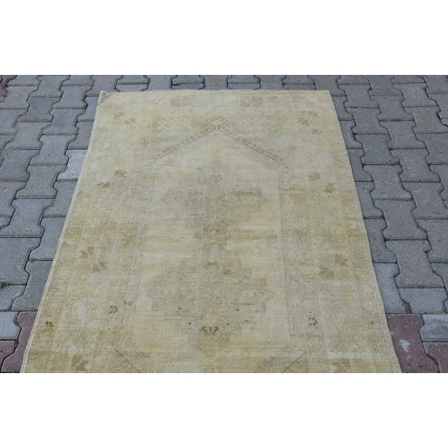 Distressed Turkish Handmade Vintage Beige Rug -3′8″ × 6′1″ - Image 4 of 8