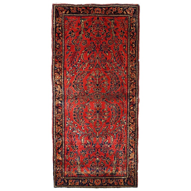 1900s, Handmade Antique Persian Sarouk Runner 3.2' X 7.10' For Sale