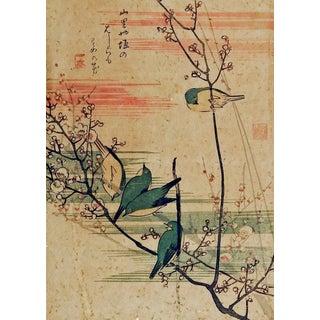 Hiroshige Bluebird Woodblock Print For Sale