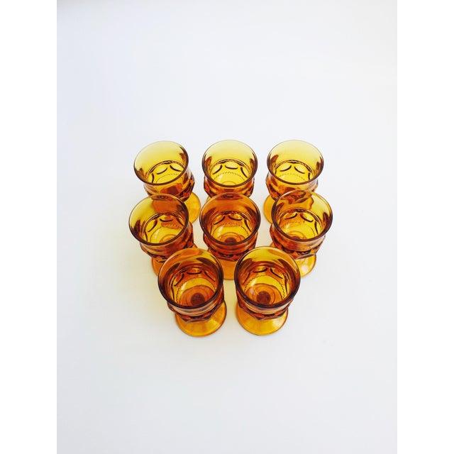 Boho Chic Vintage Amber Pressed Glass Goblets - Set of 8 For Sale - Image 3 of 5