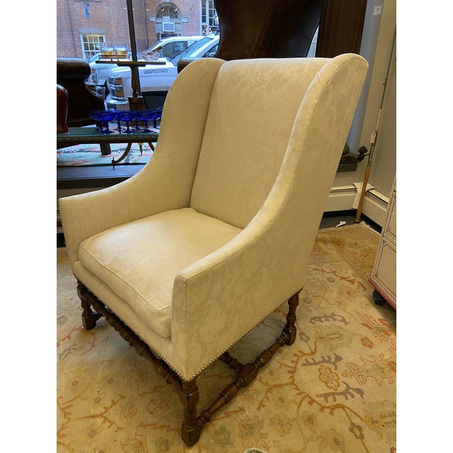 This is a beautiful damask style fabric and mahogany frame. The cushion has 75% white goose plumage and 25% down. This is...
