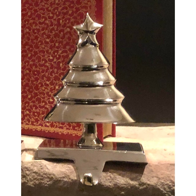 Vintage Christmas Tree and Snowman Stocking Hangers Silver Hooks - Set of 2 For Sale - Image 4 of 8