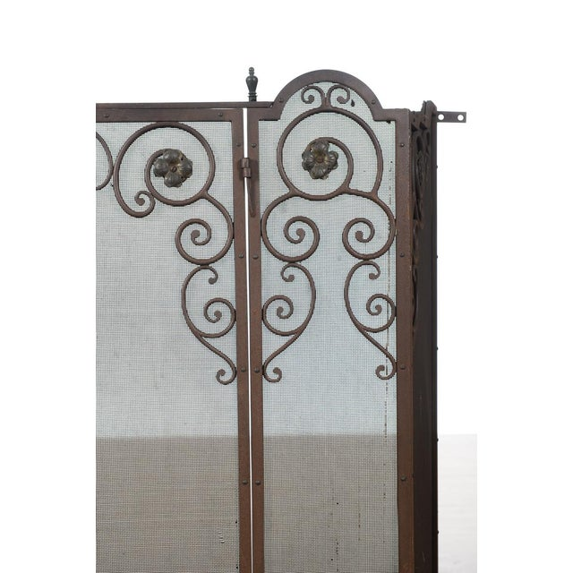 Mediterranean Antique Ornate Spanish Cast Iron Fire Place Screen For Sale - Image 3 of 7