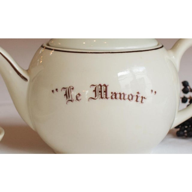 "Cottage Vintage French ""Le Manoir"" Porcelain Teapot For Sale - Image 3 of 5"