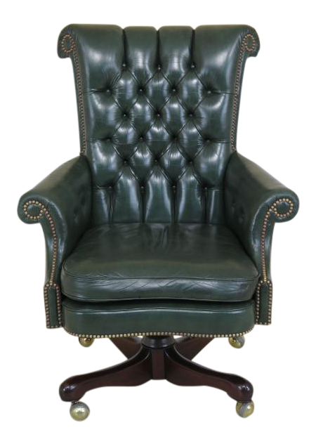 Kittinger Tufted Green Leather Office Chair