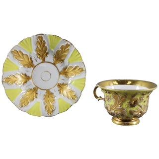 19th Century German Meissen Gold Gilt Cup and Saucer Set For Sale