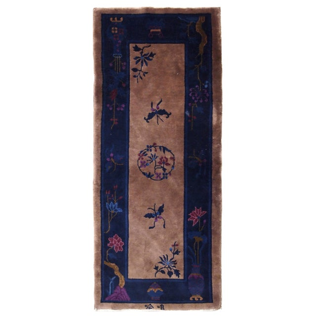 1920s Handmade Antique Art Deco Chinese Rug 2.2' X 6.7' For Sale