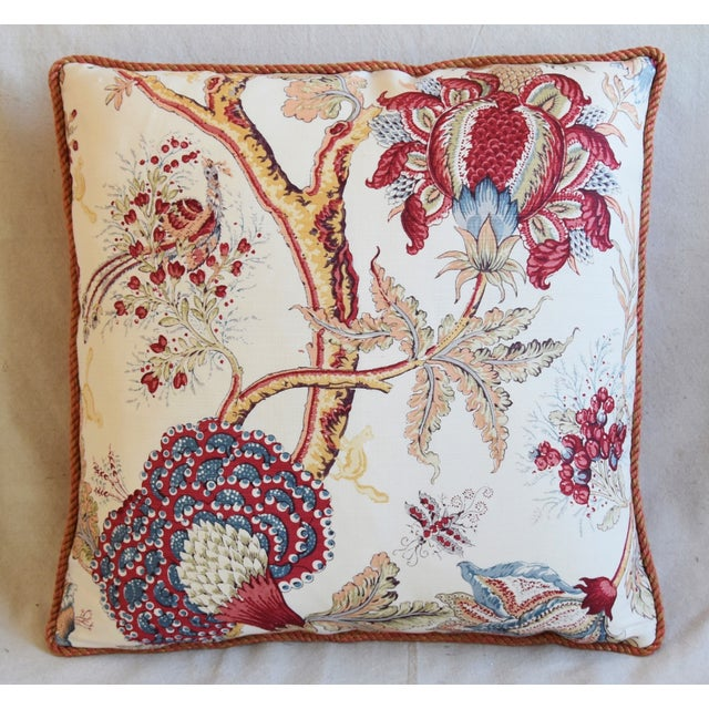 """Abstract Designer Bennison Dragon Flower Floral Linen Feather/Down Pillows 22"""" Square - Pair For Sale - Image 3 of 12"""