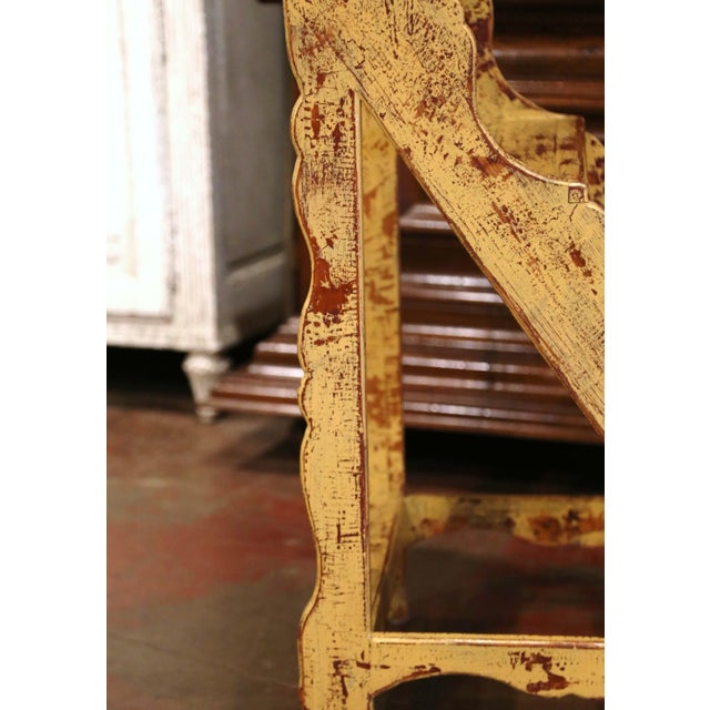 Late 20th Century Mid-Century French Country Carved and Painted Pine Library Step Ladder For Sale - Image 5 of 13