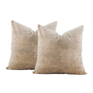 Muddled Tan Beige Velour Pillow Covers - a Pair For Sale