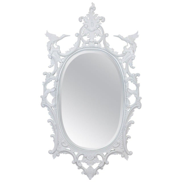 Large Chinese Chippendale Style Oval Painted Mirror For Sale - Image 9 of 9