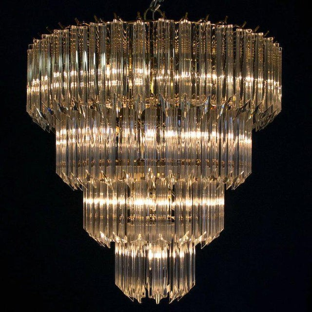 Hollywood Regency 1960's Lucite Cascading Chandelier For Sale - Image 3 of 7