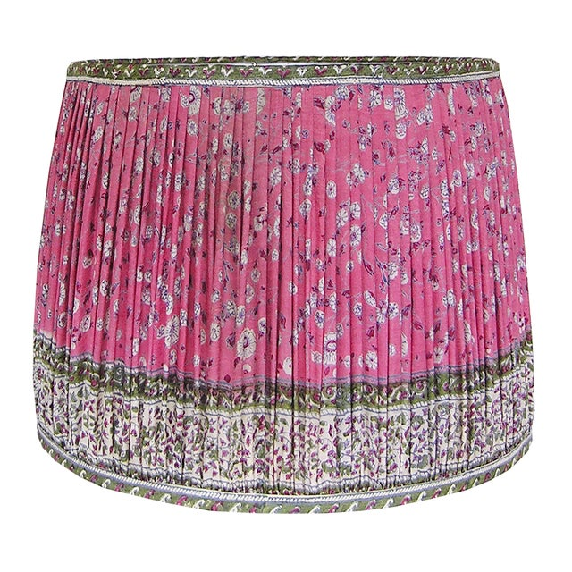 Boho Chic Rose Red/Green Silk Sari Gathered Lamp Shade For Sale - Image 3 of 4