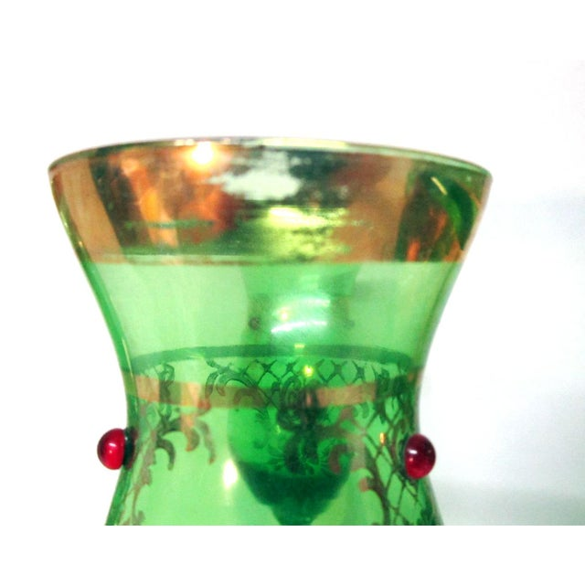 Vintage Italian Gilt Emerald Glass & Red Jewels Decanter Set - 7 Pc. Set For Sale - Image 9 of 10
